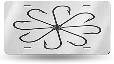 dsdsgog Art 6in x 12in Vintage Fishing,Flower Shaped Artisan Steel Multi Hook Gaff in Row New Needle Device Figure Print,Black White 12x6 inches,for Car