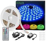 Minger Ruban LED 5M 12V 5050 RGB Bande Flexible Kit de Ruban à LED...