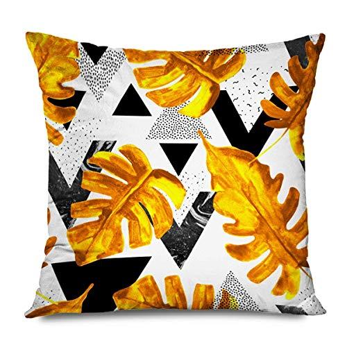 Mengghy Kissenbezug, quadratisch, 45 x 45 cm, Aquarell, modern, natürlich, geometrische Dreiecke abstraktes Muster, 1980, 80S, 90S, Schwarz
