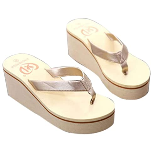 eaf3f1eef2e4 Kingfansion Women s Fashion High Heel Stylish Platform Flip Flops Wedge  Sandals Summer Beach Slippers