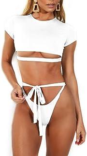 Short Sleeve Crop Swimsuits for Women Bandage Two Piece Tankini Set Swimwear
