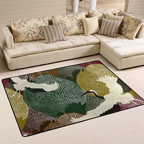 Rootti Alfombra japonesa con patrón de grúa antideslizante para sala de estar, comedor, dormitorio, cocina, pasillo, felpudos grandes de 200 cm x 150 cm (80 x 58 pulgadas)