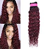 1b/99j Ombre Brazilian Hair Weave Bundles Water Wave Hair Burgundy Ombre Human Hair Bundles Unprocessed Wet and Wavy Virgin Hair Extension 1 Bundle Ombre Water Wave Hair 14 Inch