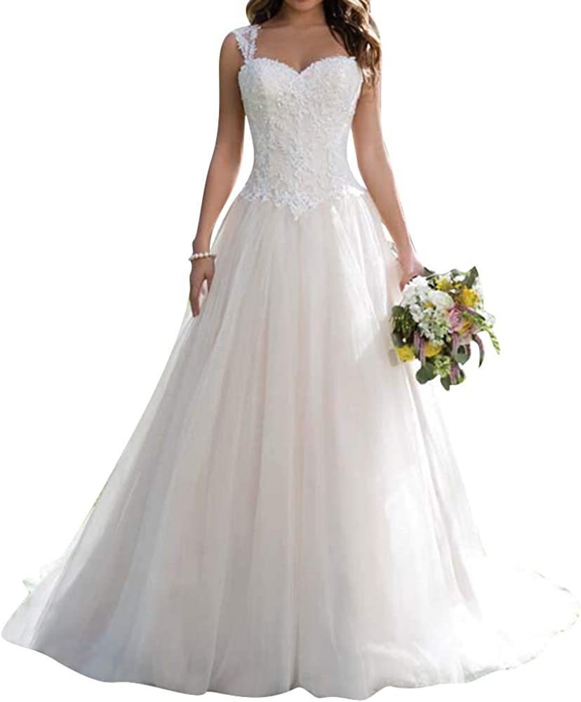 Wedding Dress for Bride Lace Bridal Gown A line Wedding Gown Sweetheart Sleeveless Bride Dresses