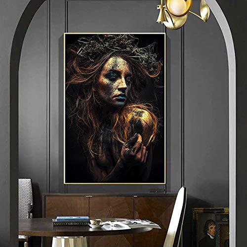 wZUN Carteles e Impresiones de Lienzo de Mujeres Negras de mitología nórdica Pintura de decoración de Sala de Estar 60X90 Sin Marco