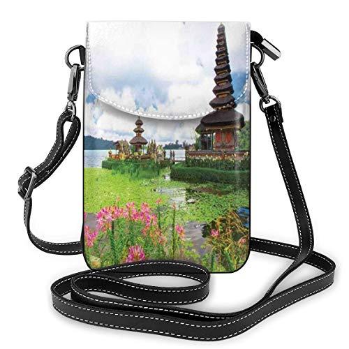Women Mini Purse Crossbody of Cell Phone,Pura Ulun Danu Building Bali Tropic Flowers Water Plants Tower In Sea Scenery