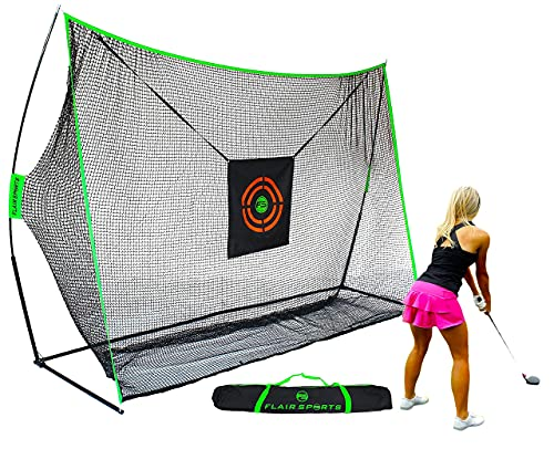 Flair Sports - Golf Hitting Net - Professional Heavy Duty Series - Practice Driver, Irons, & Wedges - Indoor & Outdoor Swing Training - Driving Range at Home - Neon Chipping Target - 10' x 7' Size