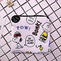 ONLY FOR GIRL 生理用紙ナプキン 収納袋 かわいい 衛生ナプキン 袋 サニタリーナプキン袋 娘 学校 アウトドア 旅行 ポータブル 5-7枚収納可能 スヌーピー 13×13cm おしゃれ かわいい漫画 収納袋 AMZ-2020-JP (A,13cm×13cm)