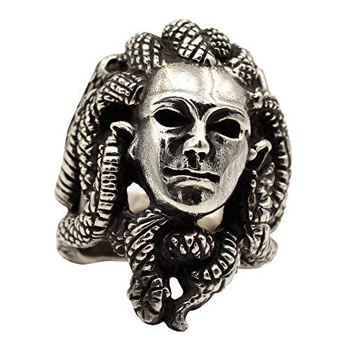 FORFOX Anillo Cabeza de Medusa con Serpientes de Plata de Ley 925 Vintage para Hombres y Mujeres,Talla 24