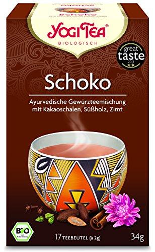 Yogi Tee 10x Schoko Bio YOGI TEA® I leckere ayurvedische Gewürz-Tee-Mischung mit Kakao-Schalen uvm. I großes Tee-Set mit 10x 17 Tee-Beutel - echte Bio-Qualität I Schokoladen-Tee 10 Päckchen