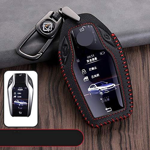 SBCX Autoschlüsselschale Für BMW 7er 740 6er GT 5er 530i X3, Mode New Top Layer Leder Auto Schlüsseletui, Display Vollschlüssel Shell Zubehör