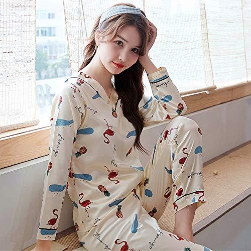 Pijama De Manga Larga,Conjuntos De Pijamas De Manga Larga Mujer Primavera Otoño Blanco Ropa De Cama De Seda De Impresión De Dibujos Animados,Dos Piezas Pijama De Dormir De Cobertura Conjunto Joven