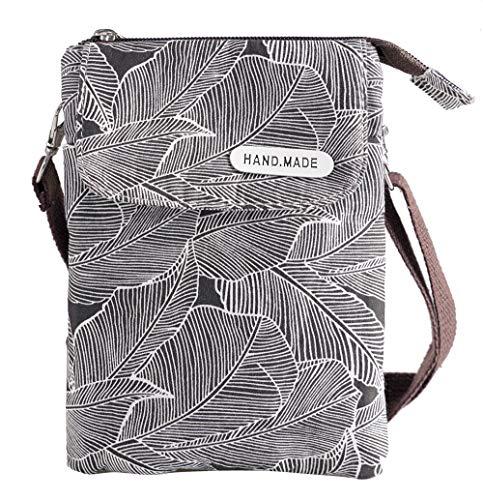 Espaciosa cartera para teléfono celular, de lona, con diseño de hojas, bolsa cruzada pequeña con correa para el hombro para mujeres, adolescentes y niñas
