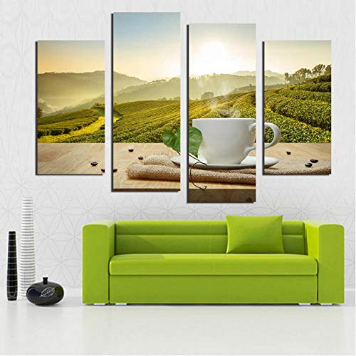 Chen Hao International Sales Store Wandkunst drucken Moderne chinesische Wind Kaffee Tee Garten Landschaft Leinwand Malerei für Wohnzimmer Wand Dekoration-40x80cm40x100cm
