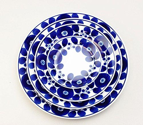 白山陶器 BLOOM ブルーム リース プレート(S)5枚セット (φ16.5×2cm) [日本製/白山陶器/シンプル/北欧風/青/染付/花 ]