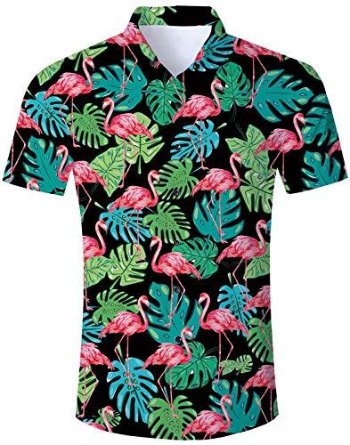 Loveternal Funky Camisas Piña Camisa de Manga Corta Impresa en 3D con Temática Hawaiana de Fiesta de Verano XXL