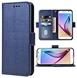 Phone Case for Samsung Galaxy S6 Folio Flip Wallet Case,PU Leather Credit Card Holder Slots Heavy Duty Full Body Protection Kickstand Protective Phone Cover For Glaxay 6s S 6 GS6 Men Dark Blue