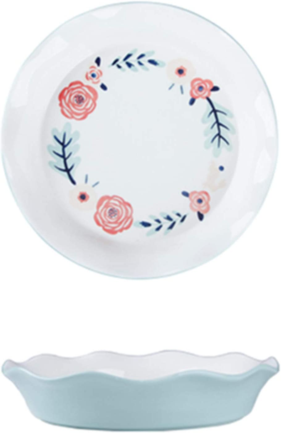Porcelain Store Pie Pan Round Plate with Ruffled Max 81% OFF Baking Edge Dish