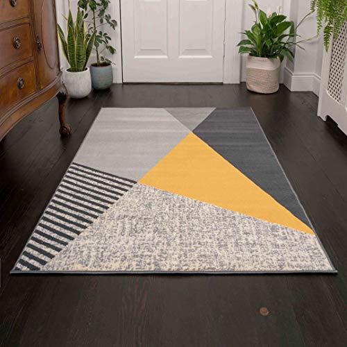 Alfombra Moderna amarilla y gris con diseño abstracto