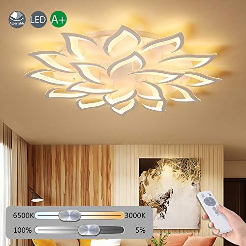 Blume Kreative Deckenlampe LED Deckenleuchte Innen Decken Beleuchtung Für Schlafzimmer Wohnzimmer Mit Fernbedienung Küche Esszimmer Weiß Acryl Lampenschirm Dekorative Dimmable Lampe,18 heads