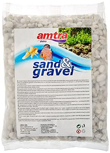 Amtra Ghiaia, Ghiaia Naturale dell'acquario, Terreno Decorativo, grani Bianchi Grossolani Dimensioni 4-8 mm, Formato 1kg