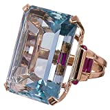 Clearance ! New Aquamarine Ring Wedding Ring Emerald Cut Blue Rose Gold for Lovers Valentine's Festival Gifts for Boyfriend Girlfriend (US Size)