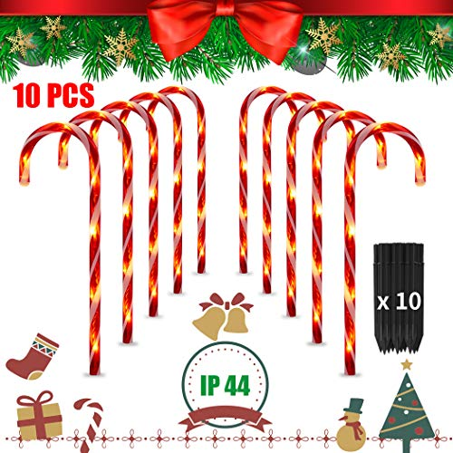 Newtion 10PCS 15.7 Inch Christmas Pathway Markers LED Lights, Candy Cane Lights Decorations - Indoor/Outdoor Christmas Light Stakes