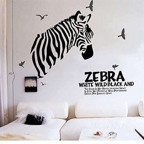 Zwarte en witte Zebra Muurstickers Buiten Slaapkamer Slaapbank Woonkamer Decoratie Schilderij PVC Transparante Film Stickers