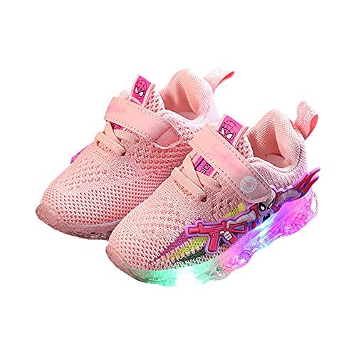 Zapatos LED para Niñas Zapatillas con Luz Niños Zapatos De Malla Tenis Navideños Intermitentes Correr Halloween Fitness,Pink-30 (Inner Length~18CM)
