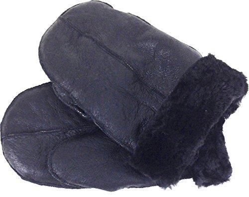 UNICORN Echtes wirkliches Schaffell-Leder Handschuhe Fäustlinge Unisex Dunkel schwarz/schwarz Fell #0M (S)