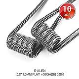 10 Stck S-Alien Premade Coils Vorkompilierte Draht by Vapethink, AWG[0.2x1.0mm Flat +32GA(S)],3mm 0.2 ohm