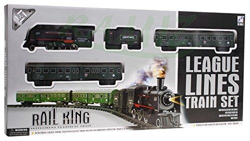 Tren electrico de juguete con Humo y 2 bucles- Efecto de Luz