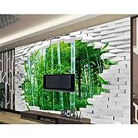 写真の壁紙3D立体空間カスタム大規模な壁紙の壁紙 レンガの壁と竹の森の壁の装飾リビングルームの寝室の壁紙の壁の壁画の壁紙テレビのソファの背景家の装飾壁画-400X280cm