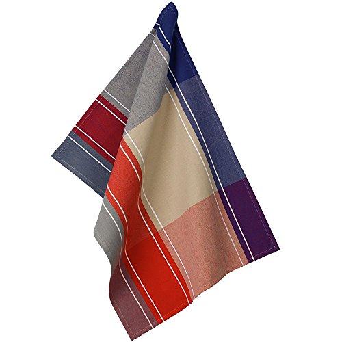 Kela 11757 Frida Torchon de cuisine Motif Carré Coton Rouge/Bleu/Beige 50 x 70 x 1 cm