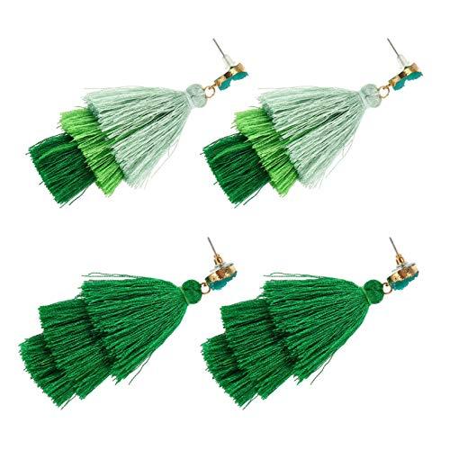 Amosfun 2 pares de pendientes de San Patricio bohemios con borla verde para mujeres y niñas