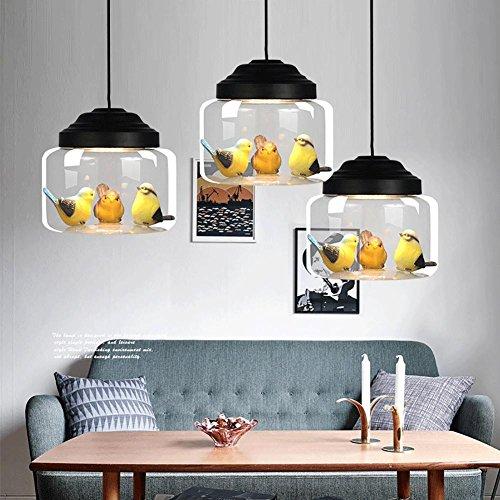 QMMCK hanglamp voor vogels binnenshuis van dieren, glazen scherm, LED-lichtbron, geen vervanging van de lamp nodig