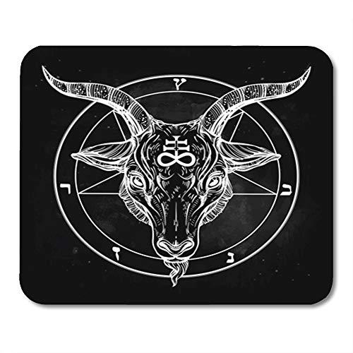 Semtomn Mouse Pad Rubber Mini 9.5' x 7.9' Rectangle Pentagram Demon Baphomet Satanic Goat Head Binary Symbol Tattoo Retro Music Mousepad Smooth Gaming Notebook Computer Accessories Backing
