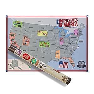 Mapamundi de Estados Unidos para rascar | Mapa de Estados Unidos de América para rascar | Viaja y rasca Via los Estados que has visitado | El único mapa para rascar fabricado en Italia | (Benbridge)