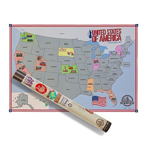 Benbridge, Karte zum Rubbeln der Vereinigten Staaten, USA, Wandkarte, mit Ikone, hergestellt in Italien, Geschenkidee für Reisende, Wandposter, Größe 41 x 60 cm