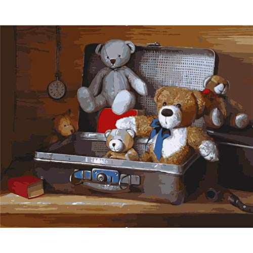 HDPDY DIY Oil Painting Kit Canvas Painting for Adults Kids,Paint by Number Home Decor Wall Little Bear in Suitcase - 40cmx50cm