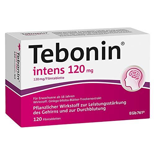 Tebonin® intens® 120mg bei akutem und chronischem Tinnitus* – Pflanzliches Arzneimittel mit Ginkgo-Spezialextrakt EGb 761(R) – 120 Filmtabletten…