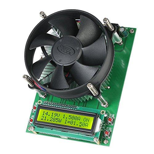 KKmoon 150W 60V 10A Batterie Akku Entladen Kapazität Tester, Konstante Strom Elektronische Belastung Prüfer Modul mit 1602 LCD Anzeigen und Lüfter