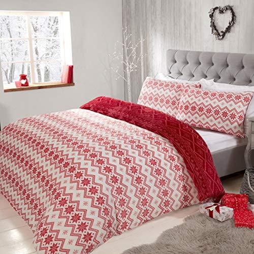Sleepdown Fairisle Parure de lit réversible en Flanelle avec Housse de Couette et taies d'oreiller Motif Rayures abstraites Blanc et Rouge 200 x 200 cm