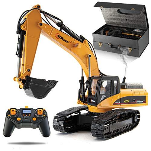 Tractor de construcción de excavadora de metal RC Lleve hasta 180 lb, potencia de excavación de 1.1 lb por pulgada cúbica