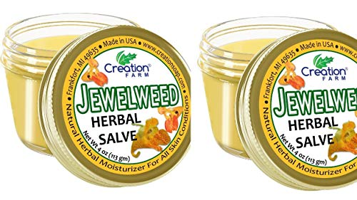 Creation Farm 2 Jars, Jewelweed Salve, Poison Ivy Itch Relief Balm Soothes Insect Bites and Bee Stings 2 Pack (2-4oz Jars)