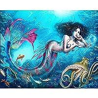 5D DIY ダイヤモンド塗装キットフルダイヤモンドラウンドラインストーン刺繍家の壁の装飾のための人魚 30 × 40 センチメートル