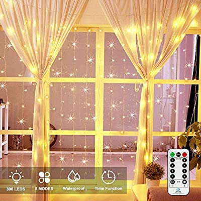 Ollny LED Window Curtain String Lights Icicle Fairy Decorative Lights for Wedding Xmas Christmas Outdoor Home Party Garden Decorations with Remote & Timer Lights 306 LEDs 3m*3m