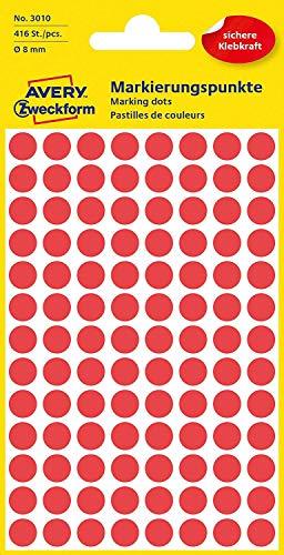 AVERY Zweckform 3010 selbstklebende Markierungspunkte 416 Stück (Ø 8mm, Klebepunkte auf 4 Bogen, Punktaufkleber zur Farbcodierung, runde Aufkleber für Kalender, Planer und zum Basteln, Papier) rot