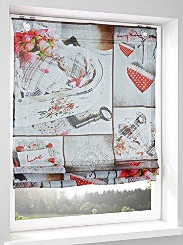 Gardinenbox.eu Raffrollo, Farbe rot/beige, 1 Stück, Heine Home, Größe: ca. HxB: 140x60 cm, Einfache Montage mit Hakenaufhängung und Ösen, Lieferung inklusive Zubehör