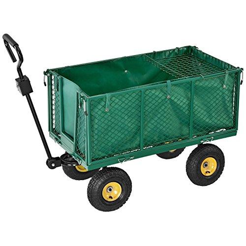 Juskys Metall Gartenwagen 550 kg | herausnehmbare Plane | große Luftreifen | Stahlfelge | Seitenteile abnehmbar | Bollerwagen Transportwagen Handwagen